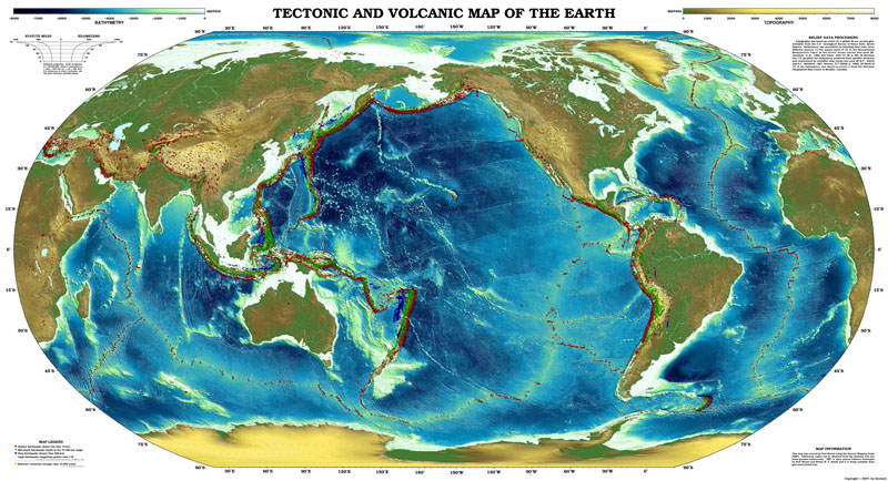 Global PDF map of the Earth shows the topography and bathymetry relief with